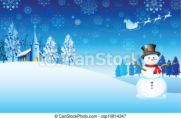 Snowman on Christmas night - csp10814347