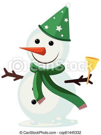 Snowman on white background - csp61445332