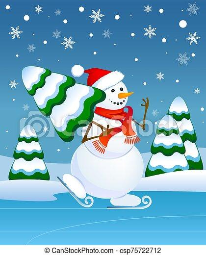 snowman, patinaje - csp75722712