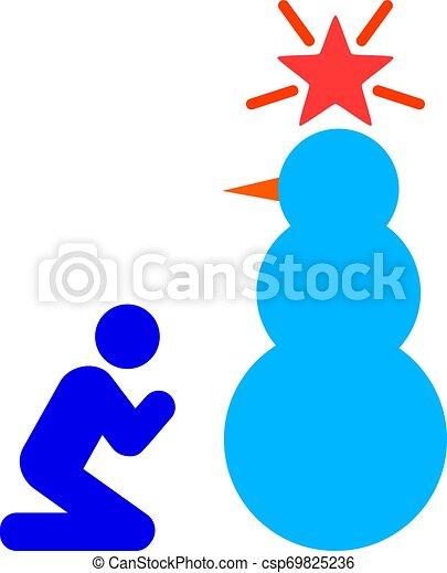 Ruega al santo vector de icono vector de la nieve ilustración plana - csp69825236