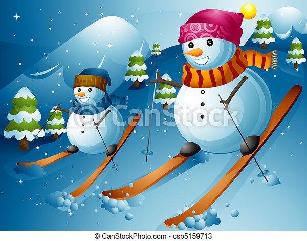 Snowman ski. Illustration of snowmen skiing down a ...