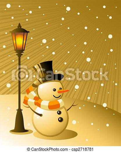 Snowman stands under a lamp on a snowy evening - csp2718781