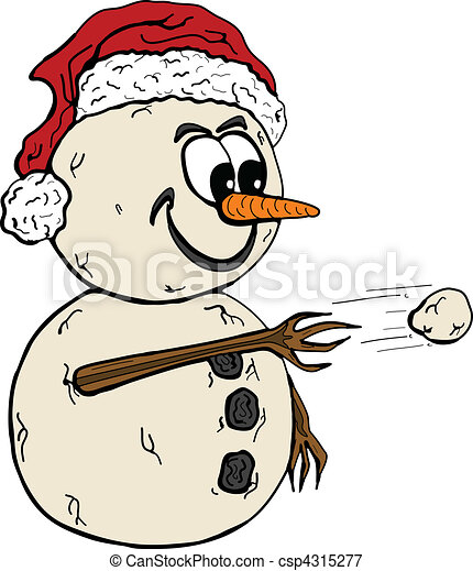 vector illustration of a snowman throwing snowball vectors rh canstockphoto com