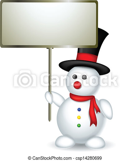 snowman with blank sign - csp14280699