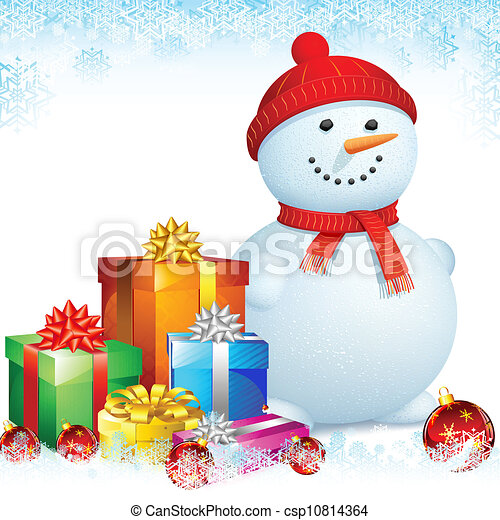 Snowman with Christmas Gifts - csp10814364