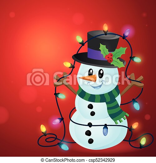 Snowman with Christmas lights image 3 - csp52342929