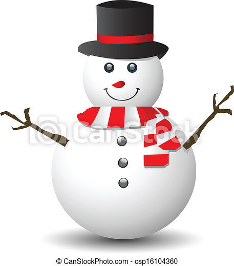 snowman with red and white scarf isolated on white clip art rh canstockphoto com snowman clipart frames snowman clipart free