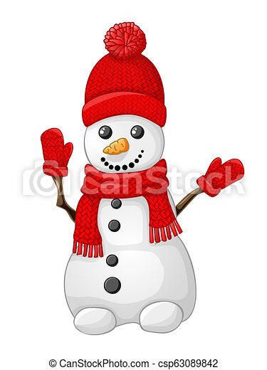 Snowman with red hat, scarf and glove isolated on white - csp63089842