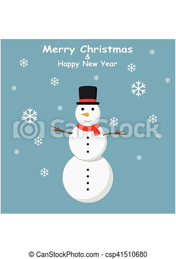 Snowman with top hat and Snowflakes on blue background - csp41510680