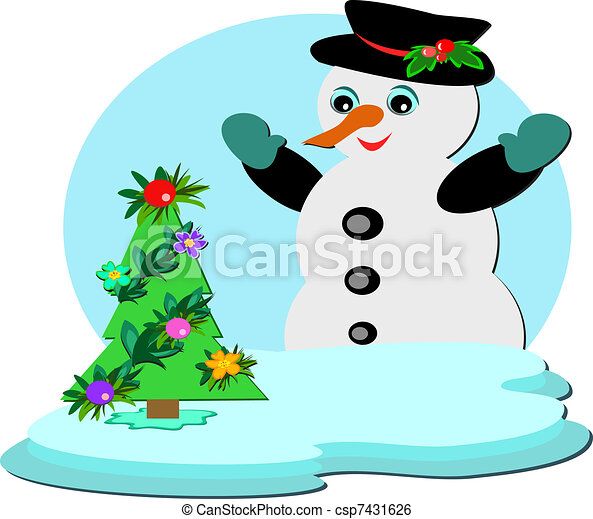 Snowman with Tropical Christmas Tre - csp7431626