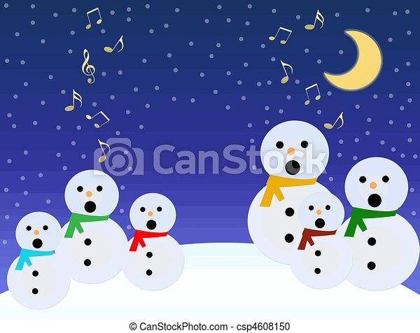 Snowmen sing - csp4608150