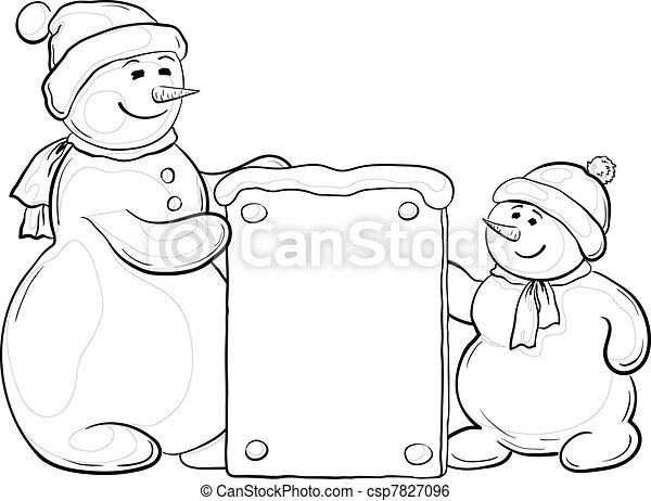 Snowmens with sign, contours - csp7827096