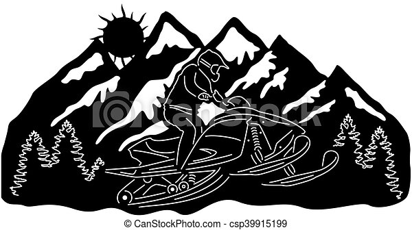 Illustration silhouette of great snowmobile.