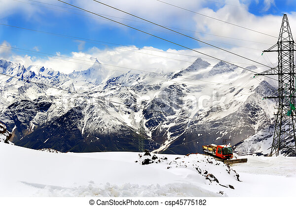 Snowmobile dune buggy vehicle in mountains - csp45775182