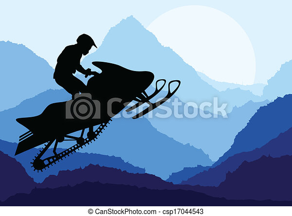 Snowmobile riders landscape background illustration vector - csp17044543