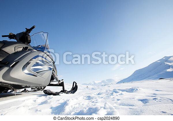 Snowmobile Winter Landscape - csp2024890
