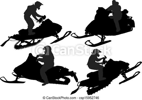 Snowmobiling Silhouette - csp15952746
