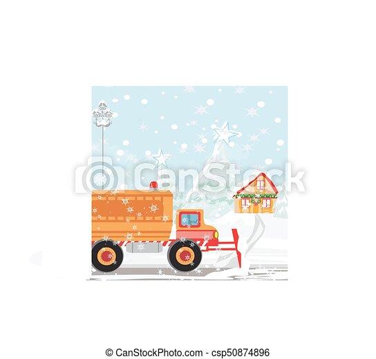 Snowplough during operation. - csp50874896