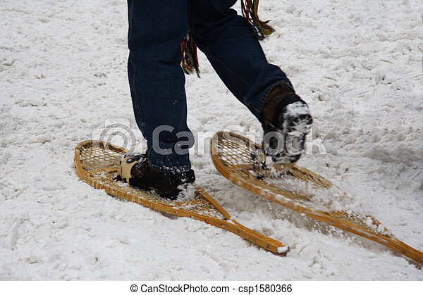 Snowshoes. Walking with snowshoes quebec, canada. motion blur on ...