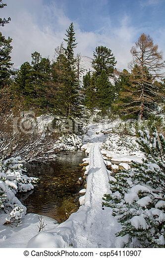 Snowy Bridge Over Creek in Winter Landscape - csp54110907