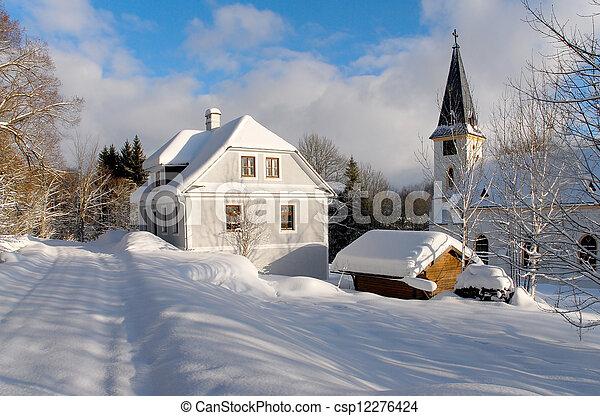 snowy church - csp12276424