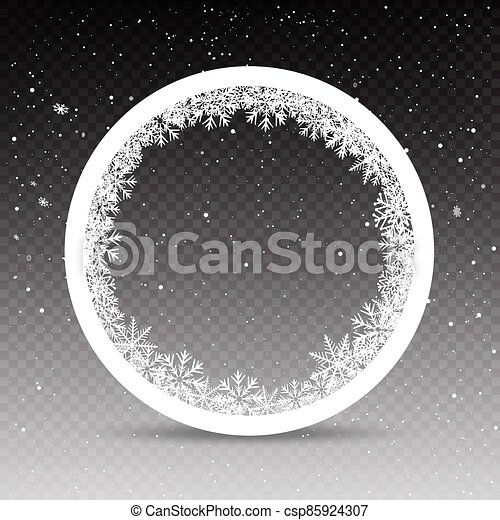 snowy circle frame template - csp85924307