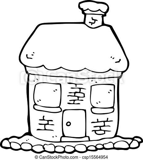 Snowy Cottage Cartoon Vector