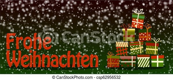 Merry Christmas German.Snowy Frohe Weihnachten Merry Christmas In German Banner Or Greeting Card With Colorful Gift Boxes