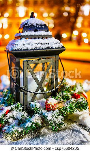 Snowy lantern at the Vilnius Christmas Market in Lithuania reflex - csp75684205