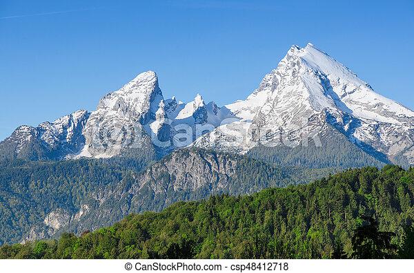 Snowy mount peaks of Watzmann Mountain ridge in Bavarian Alps - csp48412718