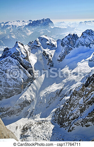 Snowy mountain landscape in the Dolomites, Italy - csp17764711