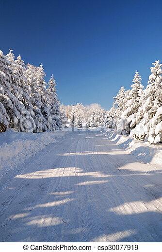 snowy mountain road - csp30077919