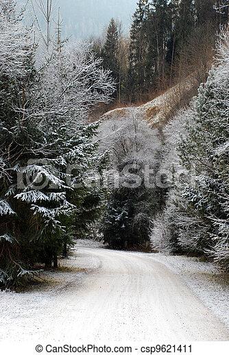 Snowy mountain road - csp9621411