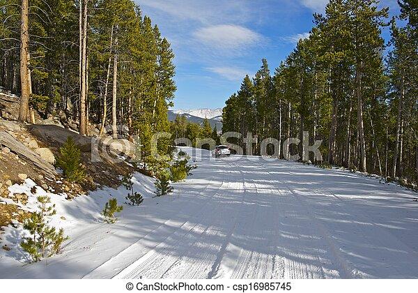 Snowy Mountain Road - csp16985745