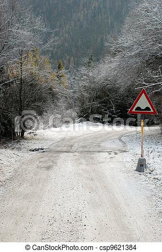 Snowy mountain road - csp9621384