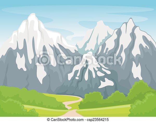 illustration featuring a snowy mountain scene vector clip