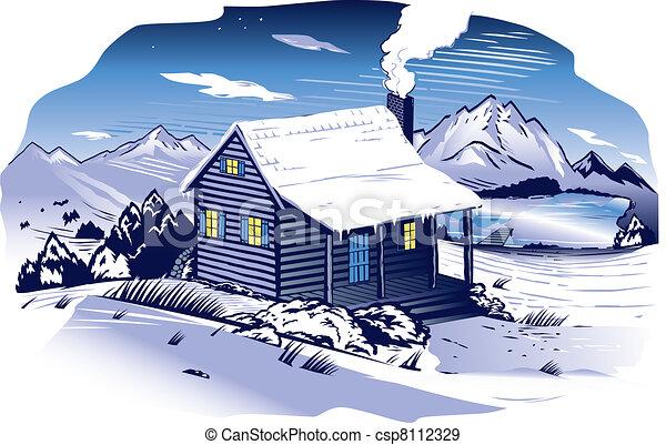 Snowy Mountainside Cabin - csp8112329