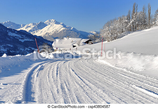 snowy road in mountain - csp43804587