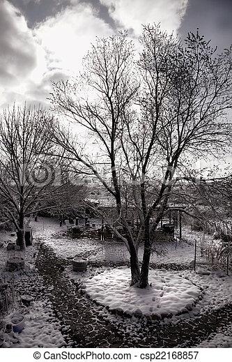 Snowy Spring Landscape - csp22168857