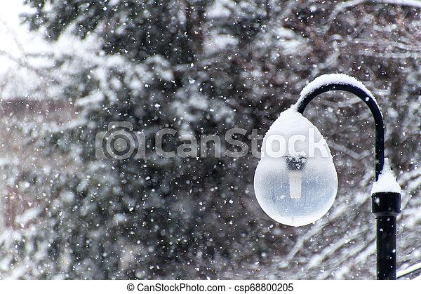 Snowy street lamp in snow blizzard. Modern ecological lighting. Winter mood. - csp68800205