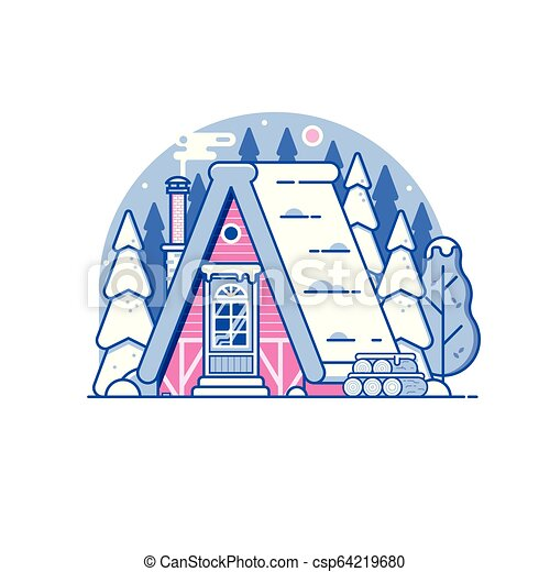Snowy Winter Log House in Forest - csp64219680