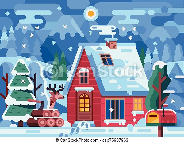 Snowy Winter Red Log House in Mountains - csp75907963
