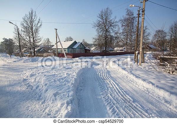 Snowy winter village outdoors in the Karelia Republic, Russia. - csp54529700