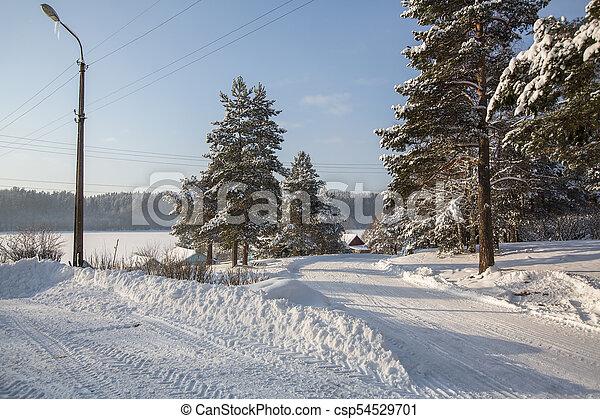 Snowy winter village outdoors in the Karelia Republic, Russia. - csp54529701