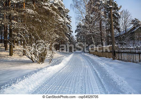 Snowy winter village outdoors in the Karelia Republic, Russia. - csp54529705
