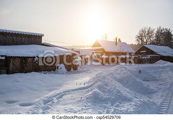 Snowy winter village outdoors in the Karelia Republic, Russia. - csp54529709