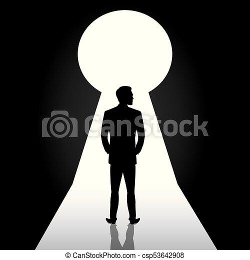 Silueta de hombre de negocios parado frente a la cerradura de la puerta, hombre de traje parado pensando, soñando, planeando - csp53642908