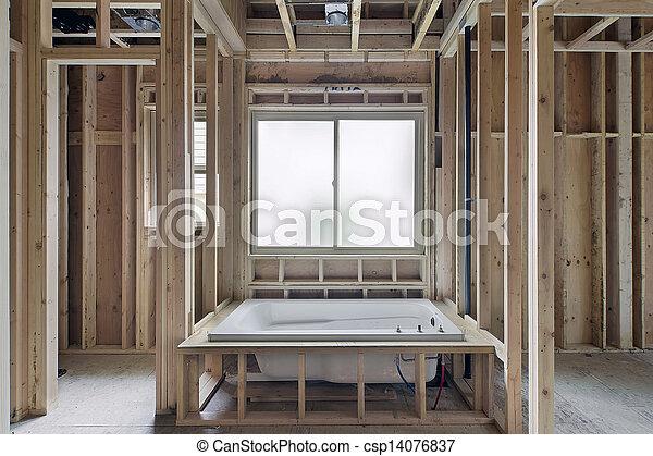 Soaking Bathtub in New Construction Home - csp14076837
