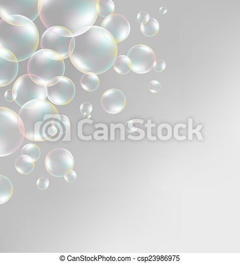 soap bubbles on grayscale  - csp23986975