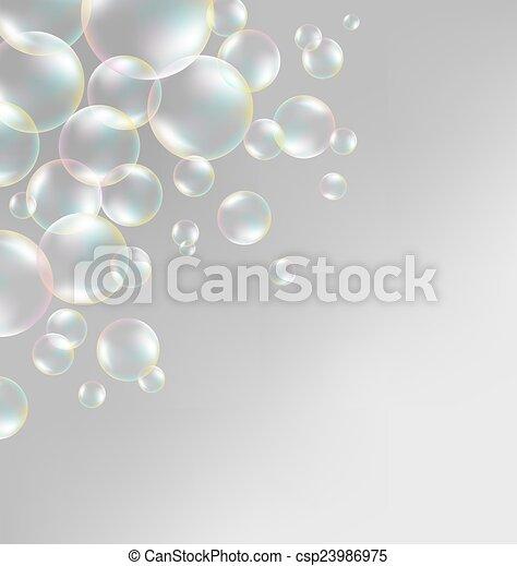 soap bubbles on grayscale  - csp23986975